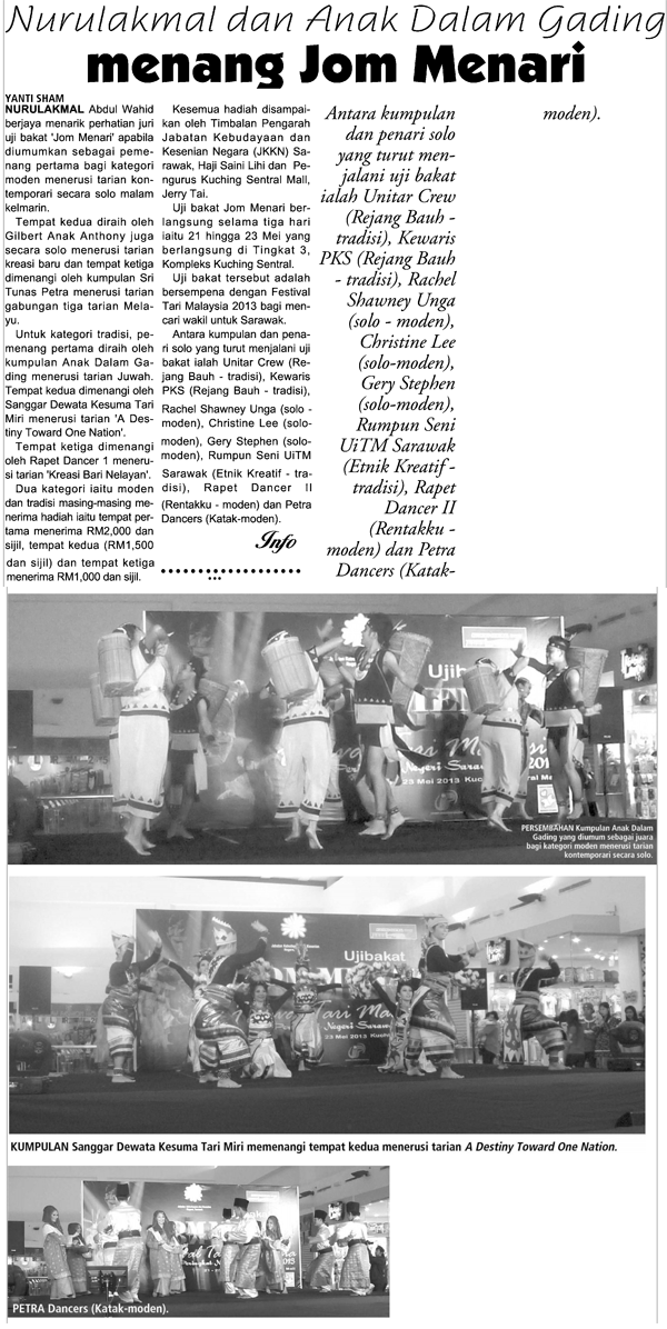 Keratan Akhbar Jom Menari 2013